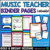 Music Teacher & Sub Binder Pages- Editable BOLD & BRIGHT Theme