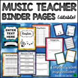 Music Teacher & Sub Binder Pages- Editable Watercolor Theme