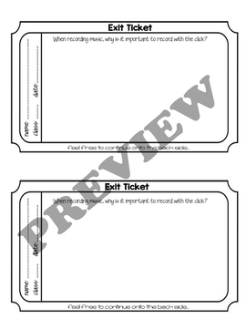 Music Technology Exit Tickets