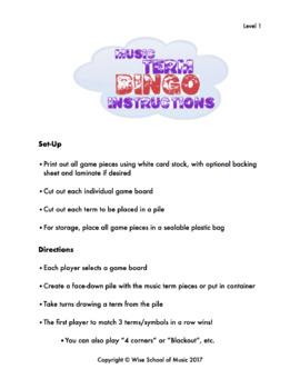 Music Term Bingo - Classroom Edition (1-40 Players) - RCM Level 1