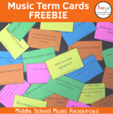 Music Term Cards for Elective Music Classes and Cooperativ