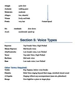 Music Terms Revision Group Work