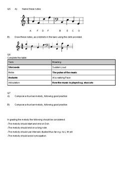 Music Test 2 (Simple Composition, Melody, Dictation and Terms)