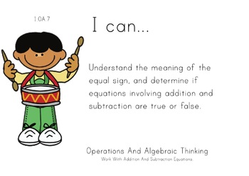 Music Theme 1st grade math Common Core Posters first Grade Standards