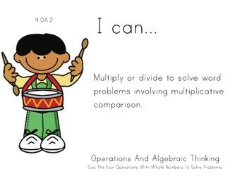 Music Theme 4th grade math Common Core Posters fourth Grade Standards