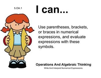 Music Theme 5th grade math Common Core Posters Fifth Grade Standards