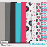 Music Themed Digital Papers