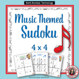 Music Games: SUDOKU  4 x 4 Music Worksheets: Music Quiz
