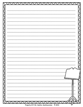 Music Themed Stationary/Lined/Writing Paper for Writing Projects