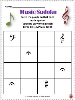 Free Music Themed Sudoku Puzzle