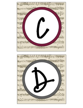 Music Themed Word Wall Letters