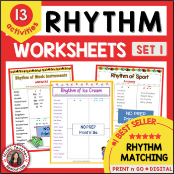 Music Activities: 12 MUSIC RHYTHM Worksheets