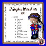 MUSIC ACTIVITIES : 12 MUSIC RHYTHM Worksheets Set 3