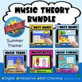 Music Theory BOOM Cards BUNDLE #2- Summer Themed  Digital