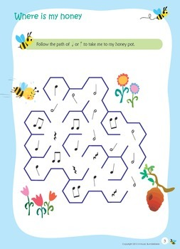 Music Theory Color In and Maze Worksheets