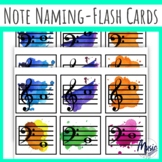 Music Theory Flashcards Note Naming Flash Card Set Treble Clef and Bass Clef