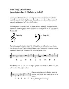 Music Theory & Fundamentals - Lesson & Worksheet #1 - The Notes on the Staff