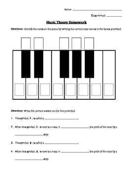 Music Theory Homework - Half Steps, Whole Steps, and the Keyboard