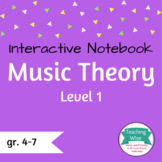 Music Theory Interactive Notebook Lvl 1: Notes, Clefs, Rhy
