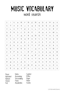 Music Theory Lesson 1 with Word Search Activity - No Prep Printable!
