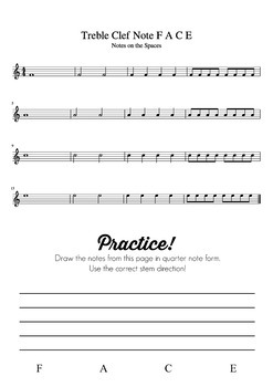 Music Theory Lesson 3 Reading Treble Clef & Bass Clef Notes - No Prep Printable!