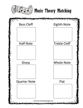 Music Theory Matching Worksheet