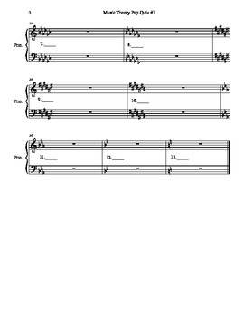 Music Theory Note Names and Major Key Signatures Quiz
