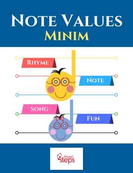 Music Theory Note Values for Kids   Minim Rhyme Song MP3 and Worksheets