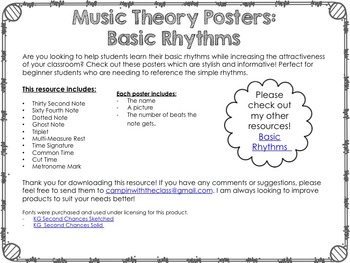 Music Theory Posters Advanced Rhythms