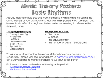 Music Theory Posters Basic Rhythms