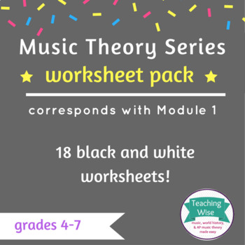 Music Theory Worksheet Pack - Treble/Bass, Alto/Tenor Clefs, Rhythm, & more!