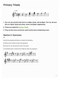 Music Theory Worksheets Triads, Chords and Backing Chords