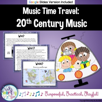 Music Time Travel:  20th Century Music {Bulletin Board and Video Links}