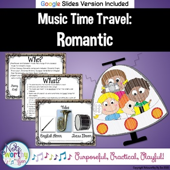 Music Time Travel:  Romantic Music {Bulletin Board and Video Links}