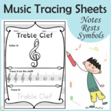 Music Tracing Worksheets    Notes, Rests, and Symbols   Pr