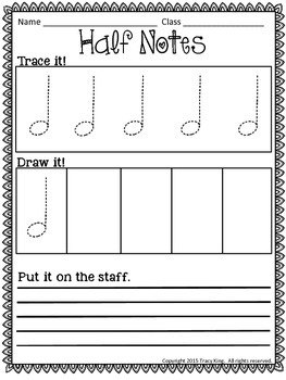 Music Tracing Worksheets