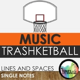 Music Trashketball: Lines and Spaces (treble clef single notes)
