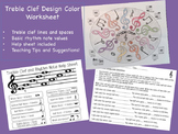 Music: Treble Clef Design Color Worksheet