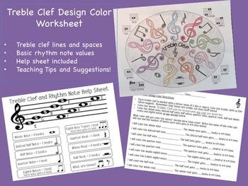 Music: Treble Clef Design Color Worksheet