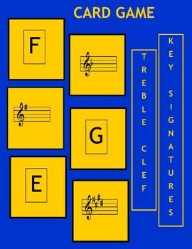 Music: Treble Clef Key Signatures Card Game