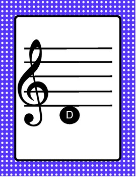 Music- Treble Clef Pitch Cards with Note Names and Polka Dots
