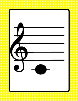 Music-Treble Clef Pitch Flashcards with Polka Dot Border