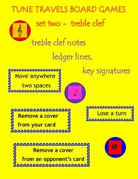 Music Tune Travels Board Games Treble Clef, Ledger Lines, Key Signatures