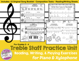 Music Unit Treble Staff Practice for Piano and Xylophone