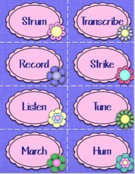 Music Verbs Word Wall {Garden of Music}