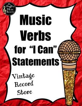 Music Verbs {Editable} {Vintage Record Store} Rainbowb Glitter
