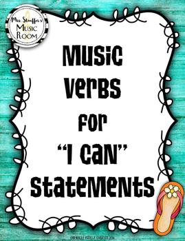 Music Verbs Word Wall {Hawaiian Tiki Beach}