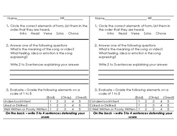 Music Video/Listening Response Worksheet