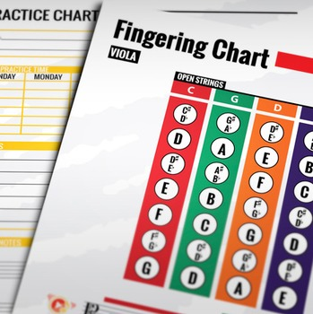Music: Viola Fingering Color Chart w/ Worksheet & Practice Chart