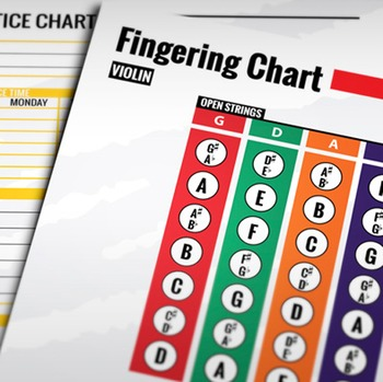 Music: Violin Fingering Color Chart w/ Worksheet & Practice Chart
